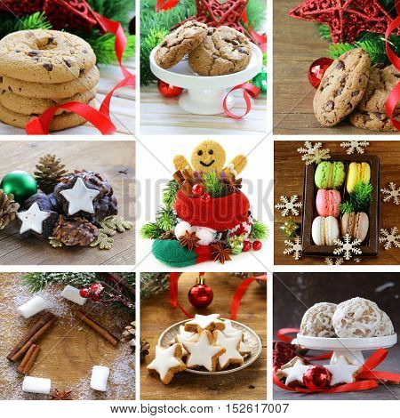 collage set different Christmas cookieswith Christmas tree branches and decorations