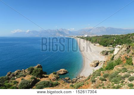 The Konyaalti Beach in Antalya with the Taurus Mountains in the Background and the Beack Park