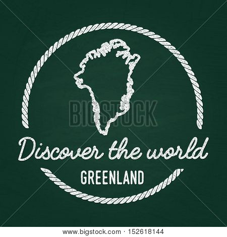 White Chalk Texture Hipster Insignia With Greenland Map On A Green Blackboard. Grunge Rubber Seal Wi
