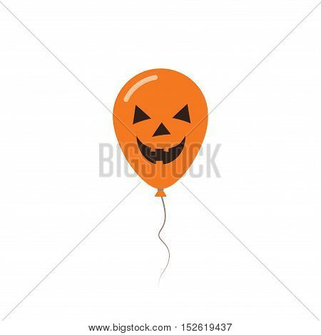 Halloween Balloon Flat Greeting Card. Black And Orange Colored All Saints Day Poster. Vector Illustr