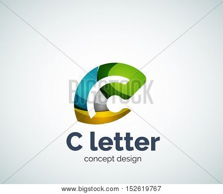 Vector C letter concept logo template, abstract business icon