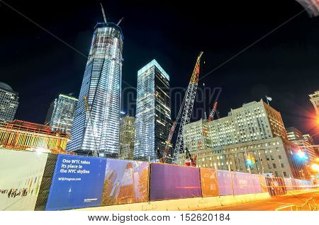 New York City - November 6 2011: World Trade Center complex under construction in lower Manhattan.