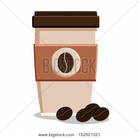 Coffee mug and beans icon. Coffee shop drink beverage and restaurant theme. Vector illustration