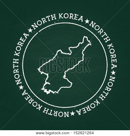 White Chalk Texture Rubber Seal With Democratic People's Republic Of Korea Map On A Green Blackboard