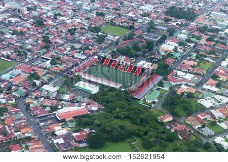 Aerial View Of  Soccer Stadium