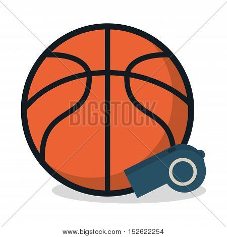 Ball and whistle icon. Basketball sport hobby and competition theme. Colorful design. Vector illustration