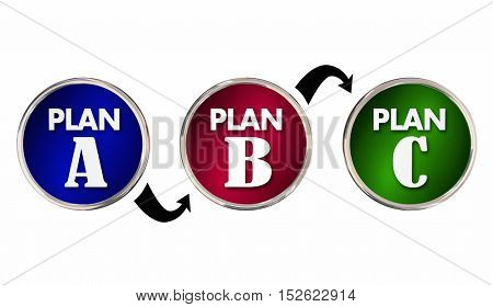 Plan A B C Alternate Trial Back Up Ideas Strategy Circles 3d Illustration