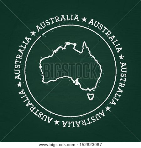 White Chalk Texture Rubber Seal With Commonwealth Of Australia Map On A Green Blackboard. Grunge Rub