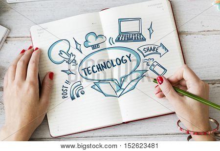 Internet Technology Ideas Outside Box Sketch Concept