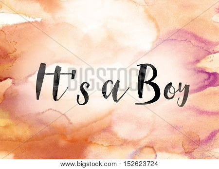 It's A Boy Colorful Watercolor And Ink Word Art