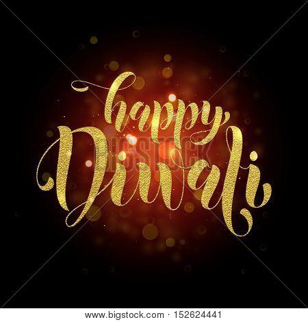 Happy Diwali vector gold glittering text. Diwali or Deepavali festival banner on black background. Hindu Diwali indian festival of lights