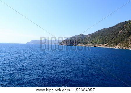 Rocky Coast And Cinque Terre Village Corniglia And Mediterranean Sea, Italy