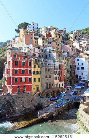Port Of Cinque Terre Village Riomaggiore With Colorful Houses, Italy