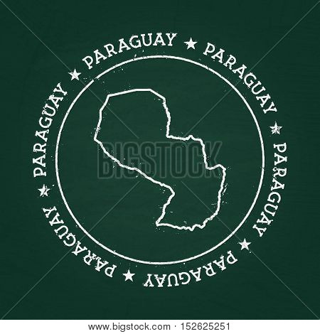 White Chalk Texture Rubber Seal With Republic Of Paraguay Map On A Green Blackboard. Grunge Rubber S