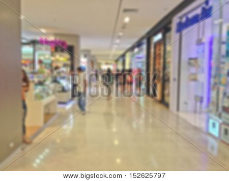Abstract blur shopping mall background in Thailand