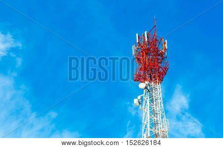Communication Tower on blue sky background Technology.
