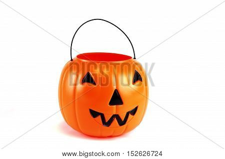 Halloween bucket for trick or treat isolated on white background