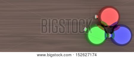 a 3d rendering of Christmas ornaments on a wood floor.