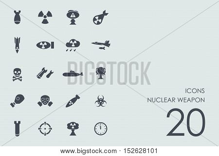 nuclear weapon vector set of modern simple icons