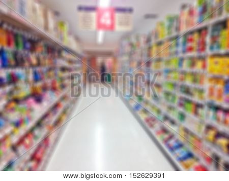 Supermarket blur background, Miscellaneous Product shelf in Thailand