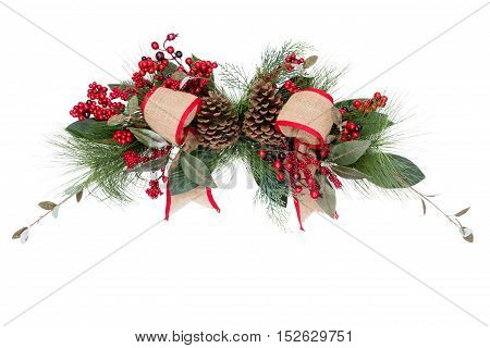 Christmas wreath bows and pine cones over white isolated background for holiday yuletide objects