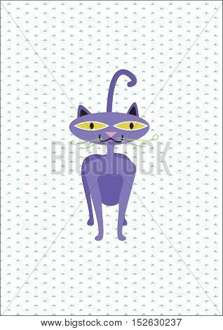 Illustration of a purple cat. Cat. Funny cat. For children. Children's background. A funny background. The background for the text. Funny animals. Kid's background.