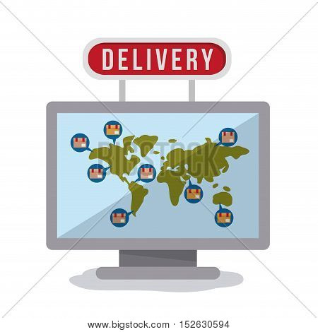Package planet and computer icon. Delivery storage shipping and logistic theme. Colorful design. Vector illustration