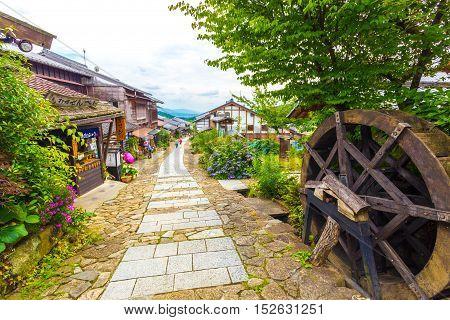 Japanese Tourists Walking Nakasendo Trail Magome H