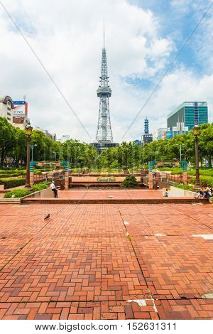Nagoya Tv Tower Brick Ground Park Walkway