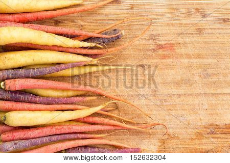Border Of Colorful Varieties Of Fresh Carrots