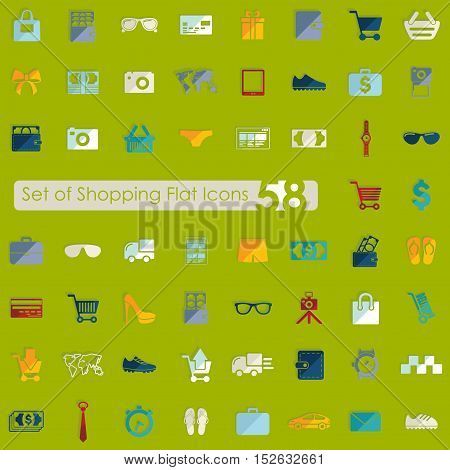 Set of shopping flat icons for Web and Mobile Applications