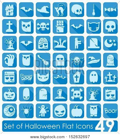 Set of Halloween flat icons for Web and Mobile Applications