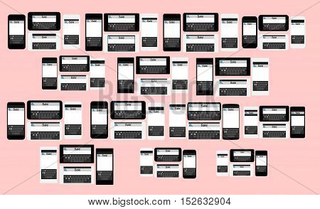 set of flat black and white different models phones sale search