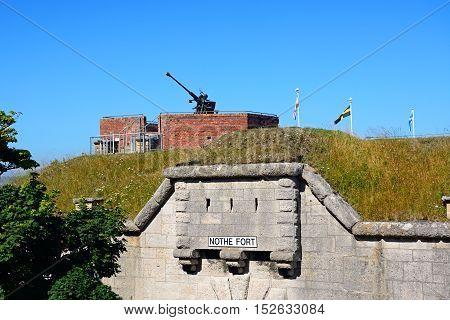 awith a gun turret above Weymouth Dorset England UK Western Europe.