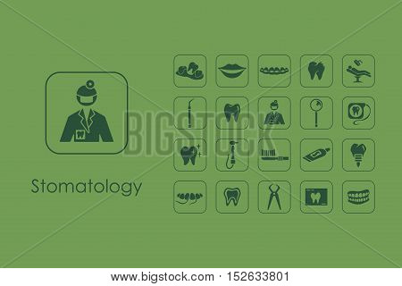 It is a set of stomatology simple web icons