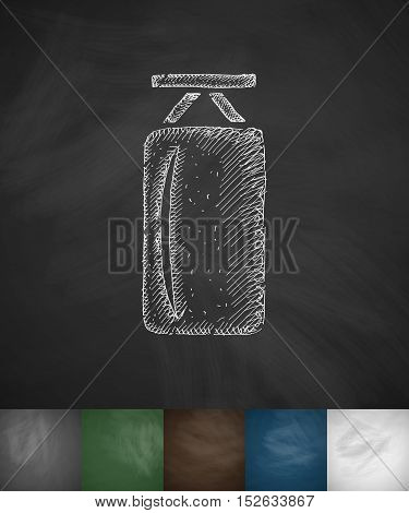punching bag icon. Hand drawn vector illustration. Chalkboard Design
