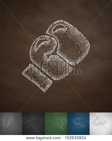 boxing glove icon. Hand drawn vector illustration. Chalkboard Design
