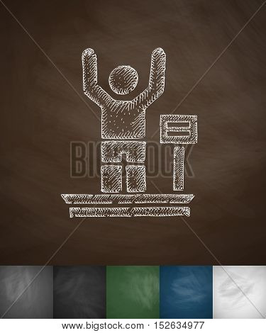 weighing icon. Hand drawn vector illustration. Chalkboard Design