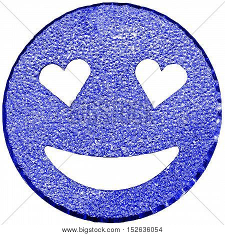 Blue Smiling Face Shining With Heart-shaped Eyes