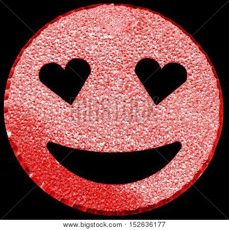 Red Smiling Face Shining With Heart-shaped Eyes