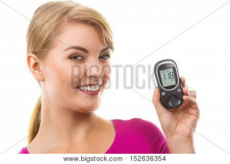 Happy Woman Holding Glucometer, Checking And Measuring Sugar Level, Concept Of Diabetes