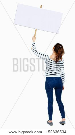 Back view woman showing sign board. man holds information plate. Rear view people collection. backside view of person. Isolated over white background. girl in a striped shirt holds placard on a stick