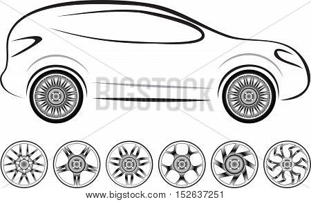 Car sketch and set of 7 wheel trims different design for tyres. Wheel can be easily changed on a car sketch. Vector illustration.