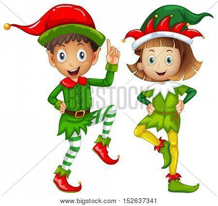 Male and female elves on white background illustration
