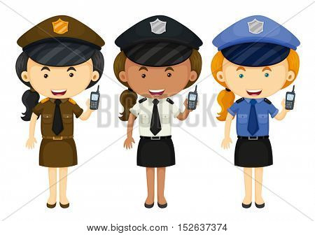 Female police in three different uniforms illustration