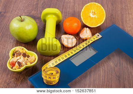 Digital Scale With Tape Measure, Dumbbells, Fruits, Muesli, Slimming Concept