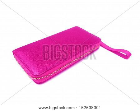 close up purple purse on isolated white background