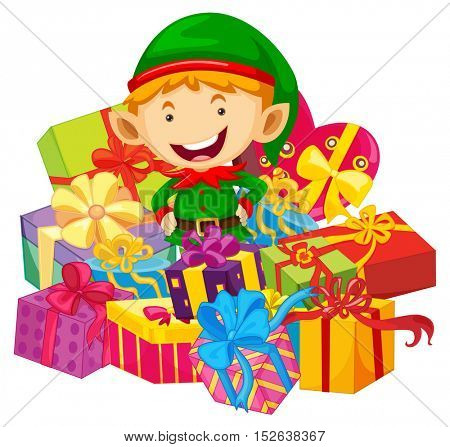 Christmas theme with elf and many presents illustration