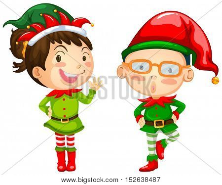 Christmas theme with two elves illustration