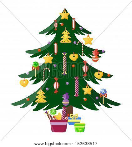 Christmas tree vector ornament star xmas gift design. Holiday celebration winter christmas tree. Vector ball season decorative shiny christmas tree, festive pine bright card symbol.